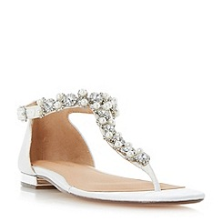 Roland Cartier - Ivory 'Nevara' jewelled t-bar toe post sandals