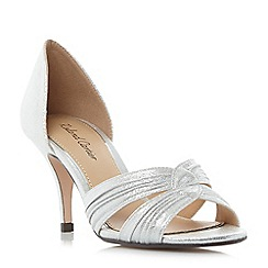 Dune - Silver 'Matimo' knot detail mid heel sandals