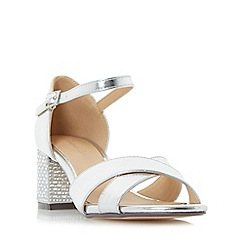 Roland Cartier - Silver 'Montego' beaded block heel sandals