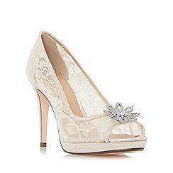 Roland Cartier - Natural 'Dreamer' jewelled flower trim peep toe court shoes
