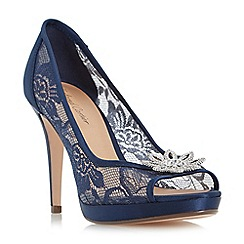 Roland Cartier - Navy 'Dreamer' jewelled flower trim peep toe court shoes