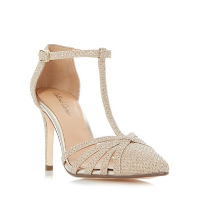 roland cartier gold 'dazzled' strappy t bar court shoes