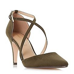 Dune - Khaki 'Clara' cross strap two part court shoes