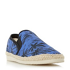 Bertie - Blue 'Fancy' palm tree print espadrille shoe