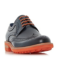 Dune - Navy 'Brixton' colour pop cleated sole brogue shoes