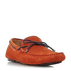 Dune - Orange 'Barnacle' plait lace up driver loafers