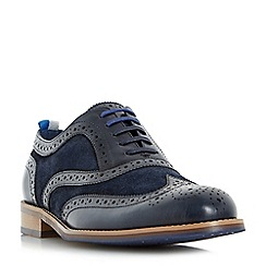 Dune - Navy 'Pudsey' leather and suede brogue shoes