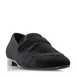 Dune - Black 'Runaway' velvet loafer shoes