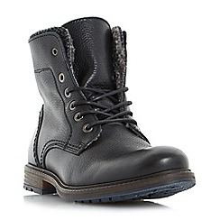 Dune - Black 'Chichester' double collar warm lined lace up boots