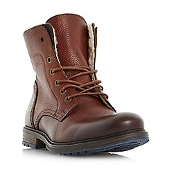 Dune - Tan 'Chichester' double collar warm lined lace up boots