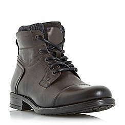 Dune - Grey 'Calabash' padded cuff leather lace up boots