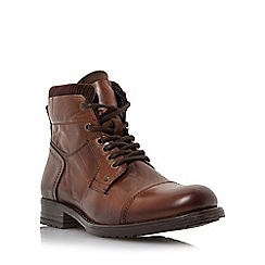 Dune - Tan 'Calabash' padded cuff leather lace up boot