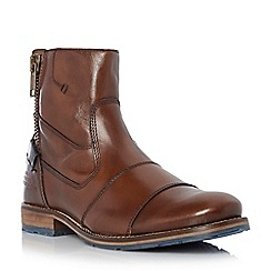 Dune - Tan 'Cackle' double toecap side zip leather boot