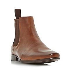 Dune - Tan 'Misfit' almond toe chelsea boot