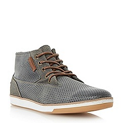 Dune - Grey 'Scooby' perforated high top leather trainer