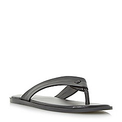 Dune - Black 'Ignite' leather toe post sandals