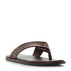 Dune - Brown 'Ignite' leather toe post sandals