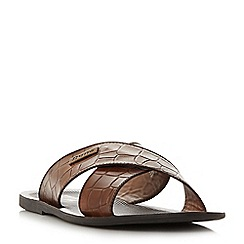 Dune - Tan 'Idolise' moc croc print cross over strap sandals