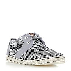 Dune - Grey 'Fenntons' mesh detail lace up canvas shoes