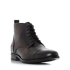Bertie - Black 'Mos' toe cap detail lace up boot