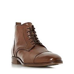 Bertie - Tan 'Mos' toe cap detail lace up boot