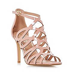 Head Over Heels by Dune - Natural 'Mae' caged laser cut high heel sandals