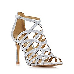 Head Over Heels by Dune - Silver 'Mae' caged laser cut high heel sandals