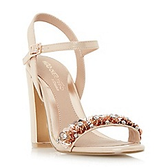 Head Over Heels by Dune - Natural 'Madia' floral embellished two part sandals