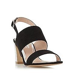 Head Over Heels by Dune - Black 'Mally' etched block heel sandals