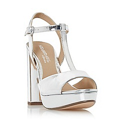 Head Over Heels by Dune - Silver 'Missy' t-bar platform sandals