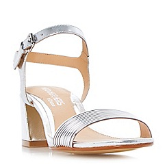 Head Over Heels by Dune - Silver 'Mandi' tube strap flared block heel sandals