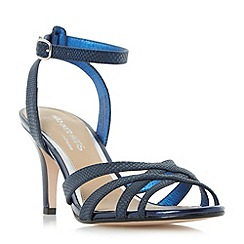 Head Over Heels by Dune - Navy 'Madeline' cross strap mid heel dressy sandals