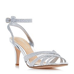 Head Over Heels by Dune - Silver 'Madeline' cross strap mid heel dressy sandals