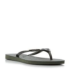 Havaianas - Khaki '4119875' slim metallic logo flip flops
