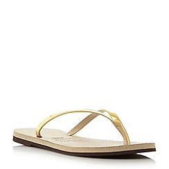 Havaianas - Gold '4135102' slim metallic strap flip flops