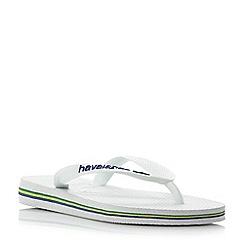 Havaianas - White '4110850 brasil' classic logo flip flops