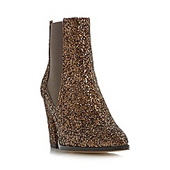 Dune - Bronze 'Order' pointed toe block heel chelsea boot