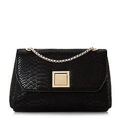 Dune - Black 'Ellaa' flap over chain strap shoulder bag