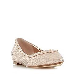 Dune - Navy 'Bambina' studded pointed toe flat shoes