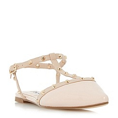 Dune - Light pink 'Cayote' studded t-bar open back flat shoes