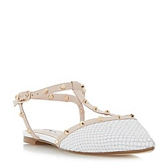 Dune - White 'Cayote' studded t-bar open back flat shoes
