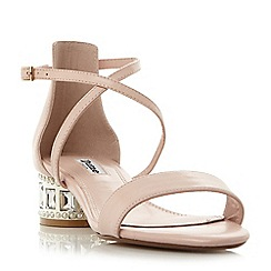 Dune - Light pink 'Mermaid' jewel and pearl embellished heel sandals