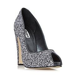 Dune - Silver 'Discoo' peep toe glitter high heel court shoe