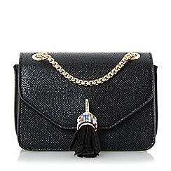 Dune - Black 'Sassie-micro' tassel detail micro bag