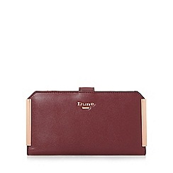 Dune - Dark red 'Kassia' metal trim rectangular purse with removable pouch