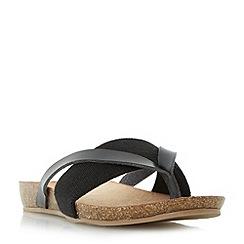 Head Over Heels by Dune - Black 'Liliana' elastic strap toe post flat sandals