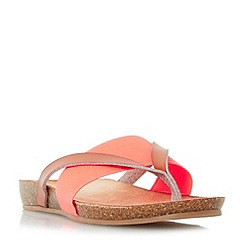 Head Over Heels by Dune - Dark peach 'Liliana' elastic strap toe post flat sandals