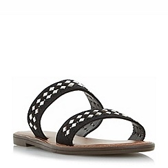 Head Over Heels by Dune - Black 'Luminosa' embellished double strap flat sandals