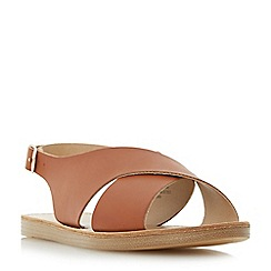 Head Over Heels by Dune - Tan 'Louisaa' cross strap flat sandals