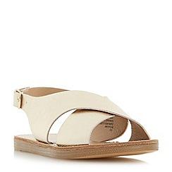 Head Over Heels by Dune - Gold 'Louisaa' cross strap flat sandals